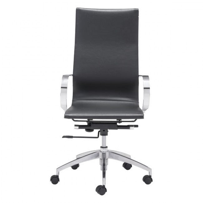 Black High-Back Leatherette Rolling Office Chair