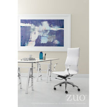 Load image into Gallery viewer, White High-Back Leatherette Rolling Office Chair