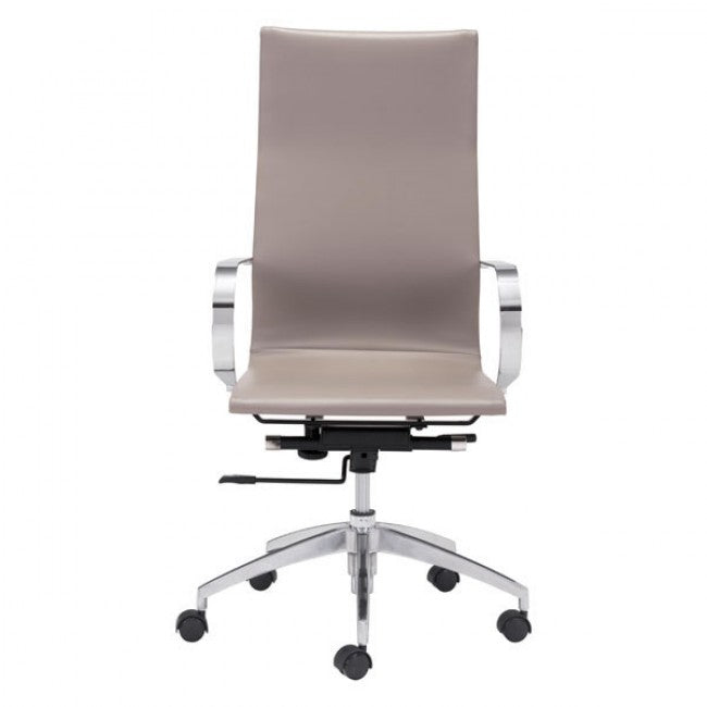 Taupe High-Back Leatherette Rolling Office Chair