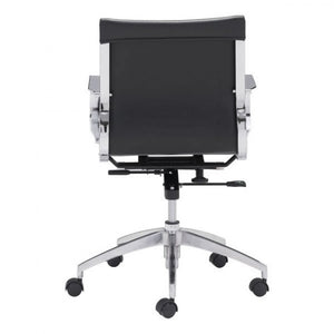 Black Low-Back Leatherette Rolling Office Chair