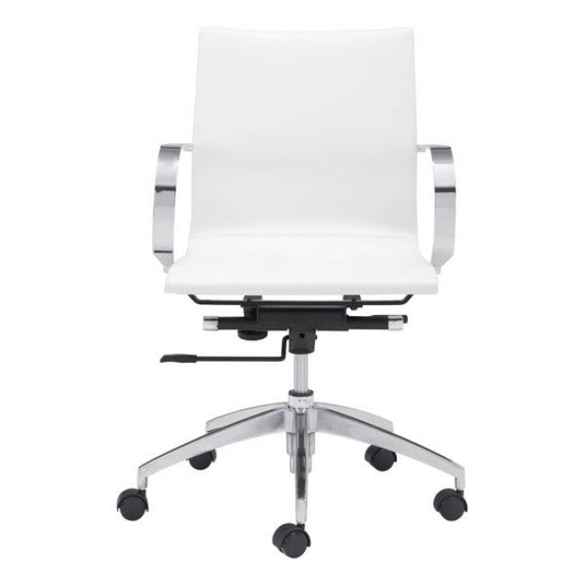White Low-Back Leatherette Rolling Office Chair