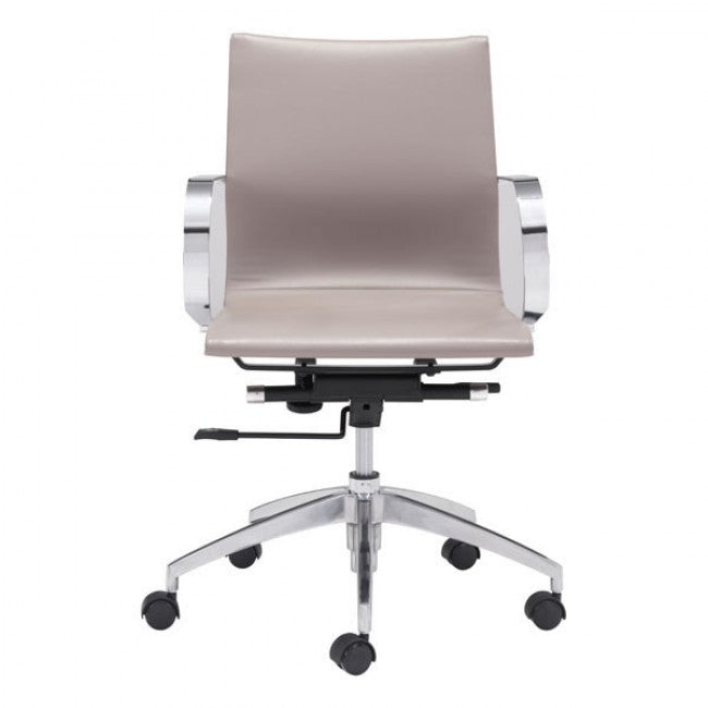 Taupe Low-Back Leatherette Rolling Office Chair