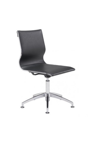 Black Leather & Chrome Stationary Conference Chair