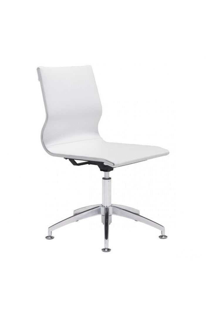 White Leather & Chrome Stationary Conference Chair