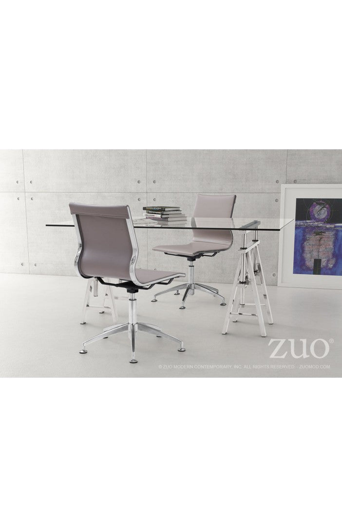 Taupe Leather & Chrome Stationary Conference Chair