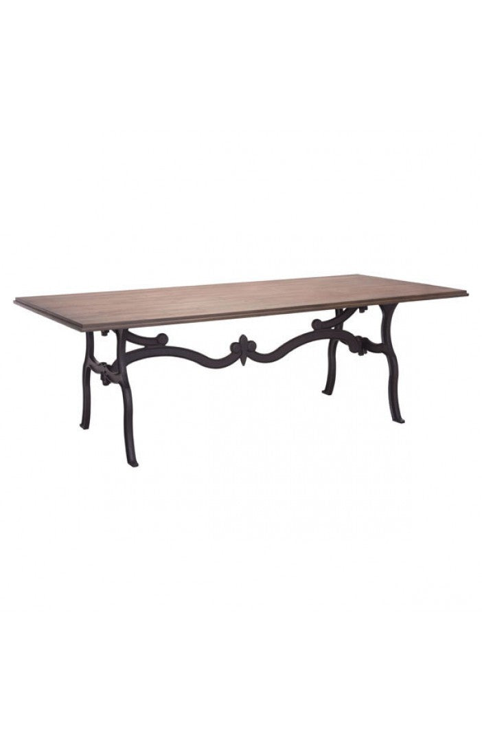 "Modern Distressed Natural 95"" Conference Table with Ornate Metal Base"
