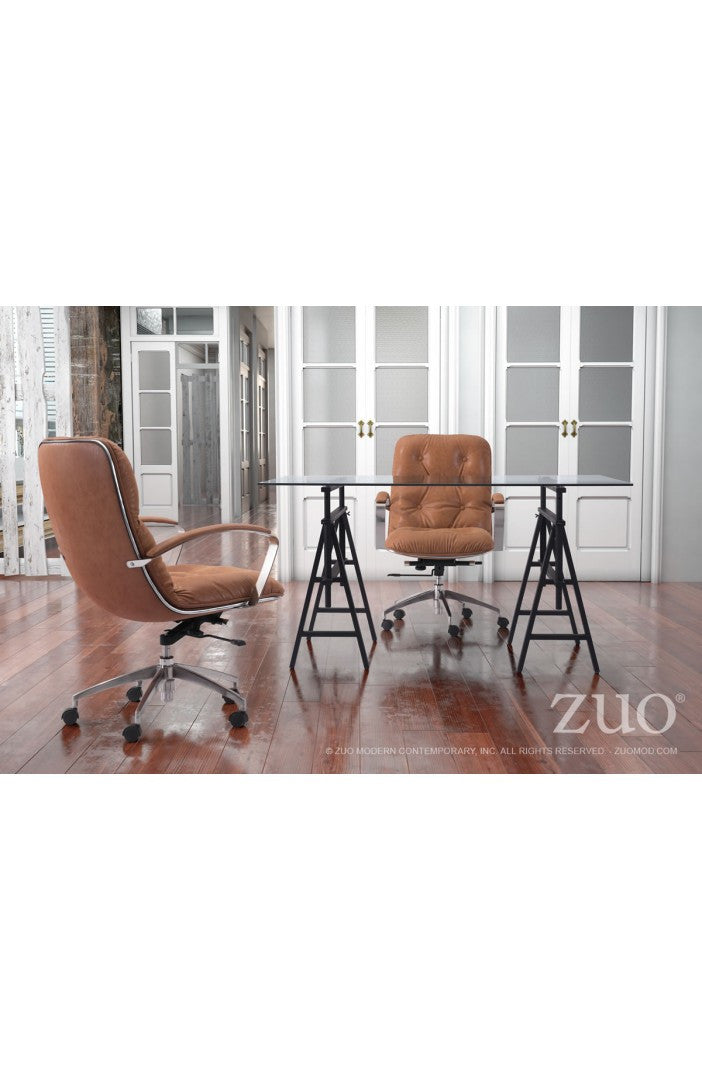Elegant Vintage Coffee Leather Office Chair