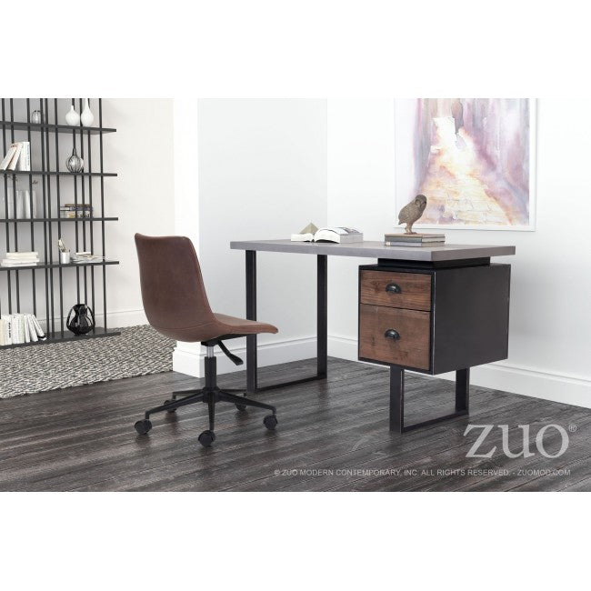 Compact Fir Wood and Metal Desk