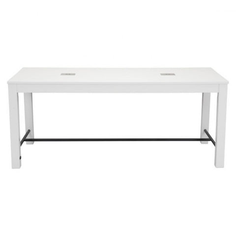 Gorgeous Poplar Wood & Metal Meeting Table w/ Ports in White