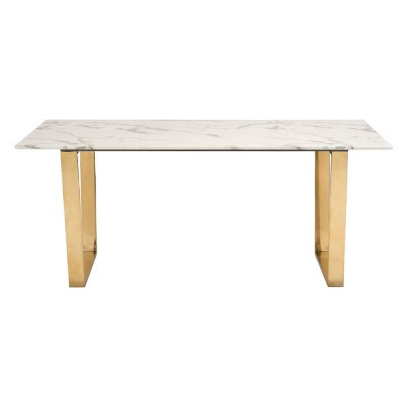 "Modern 71"" Faux Marble Office Desk with Brass-Plated Steel Legs"