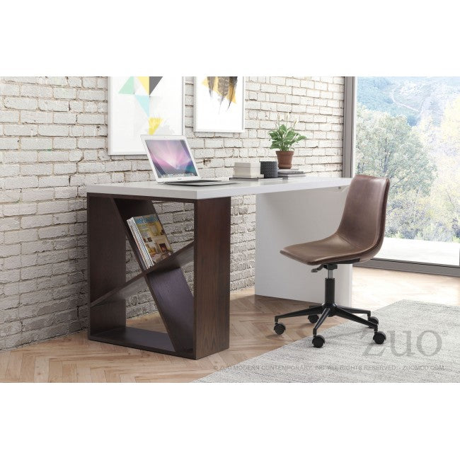 Dark Brown Leatherette Rolling Office Chair