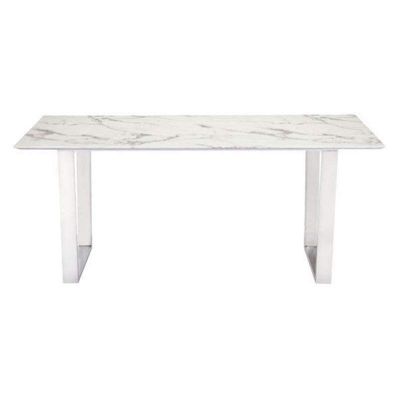 "Modern 71"" Faux Marble Desk or Meeting Table with Brushed Stainless Steel Legs"