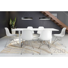 "Load image into Gallery viewer, Modern 71"" Faux Marble Desk or Meeting Table with Brushed Stainless Steel Legs"