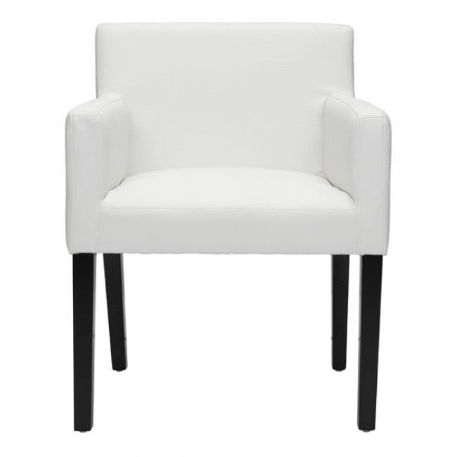 Sophisticated White Faux Leather & Birchwood Armchair for Guests or Conference Room