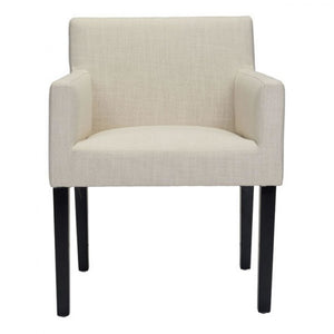 Sophisticated Beige Linen & Birchwood Armchair for Guests or Conference Room