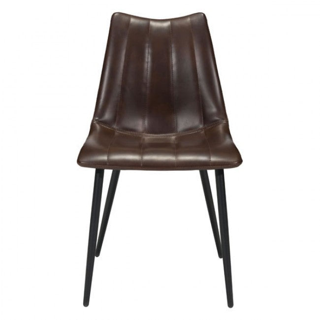 Brown Tufted Leatherette Guest or Conference Chairs (Set of 2)