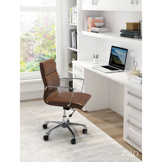 Classic Rolling Office Chair in Brown Leatherette