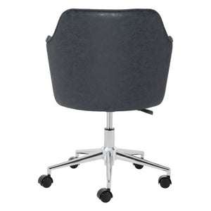 Modern Office Chair in Distressed Black Leatherette