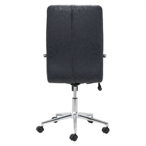 Classic High-Back Rolling Office Chair in Black Leatherette