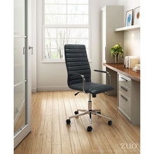 Load image into Gallery viewer, Classic High-Back Rolling Office Chair in Black Leatherette