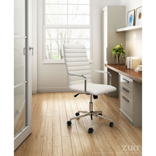 Classic High-Back Rolling Office Chair in White Leatherette