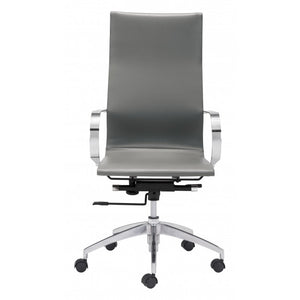 Modest High-Back Office Chair in Gray Leatherette