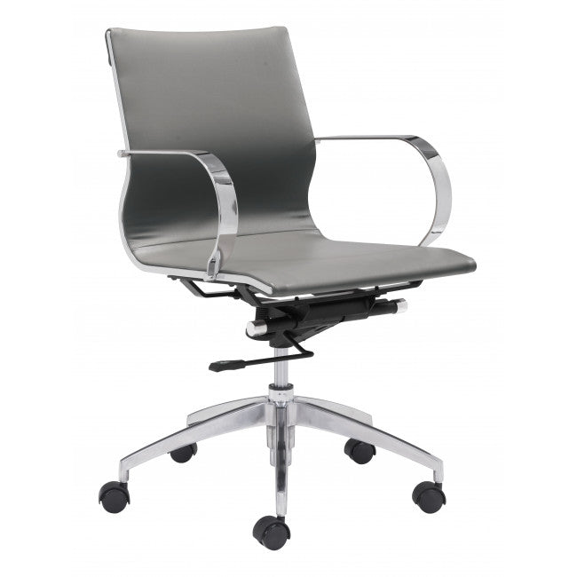 Modest Low-Back Office Chair in Gray Leatherette