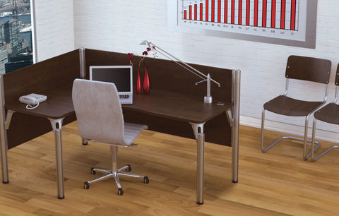 Pro-Biz Commercial Grade L-shaped Desk with Privacy Panel in Chocolate