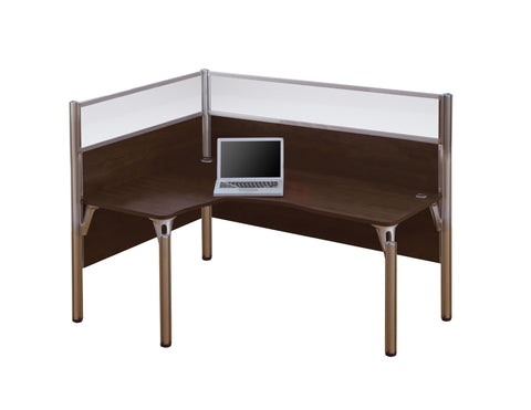 "Pro-Biz Commercial L-shaped Desk with 55"" Privacy Panel in Chocolate"