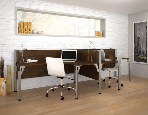 "Pro-Biz Premium Double Workstation with 43"" Privacy Panel in Chocolate"