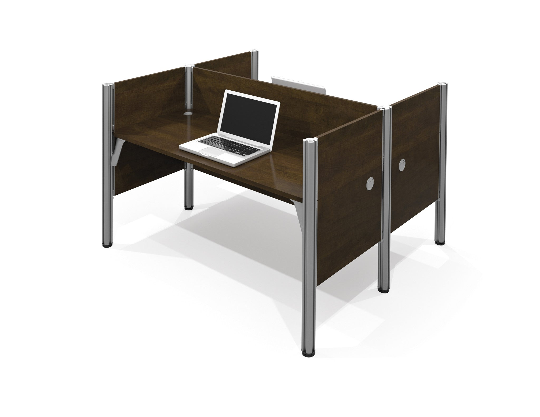 Pro-Biz Commercial Grade Double Workstation in Chocolate