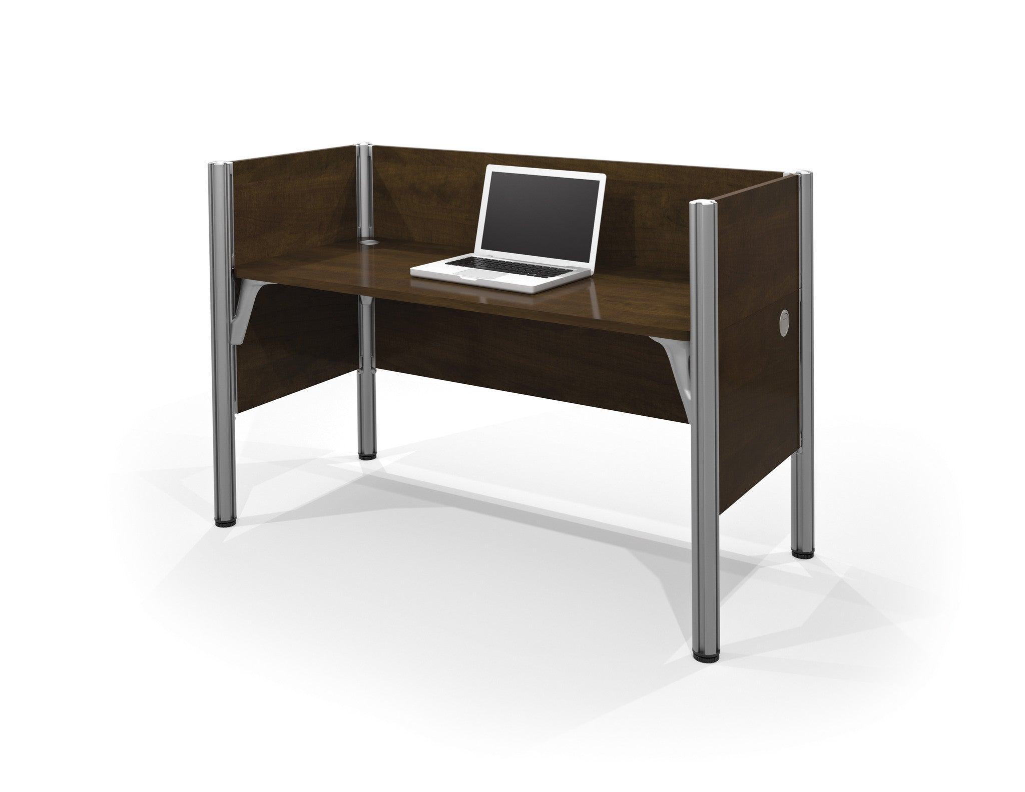 "Pro-Biz Premium 62"" Workstation with Privacy Panel in Chocolate"