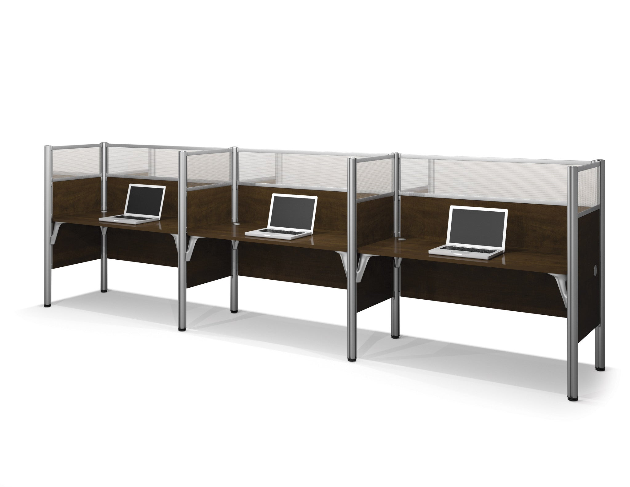 "Pro-Biz Premium Triple Workstation with 55"" Privacy Panel in Chocolate"