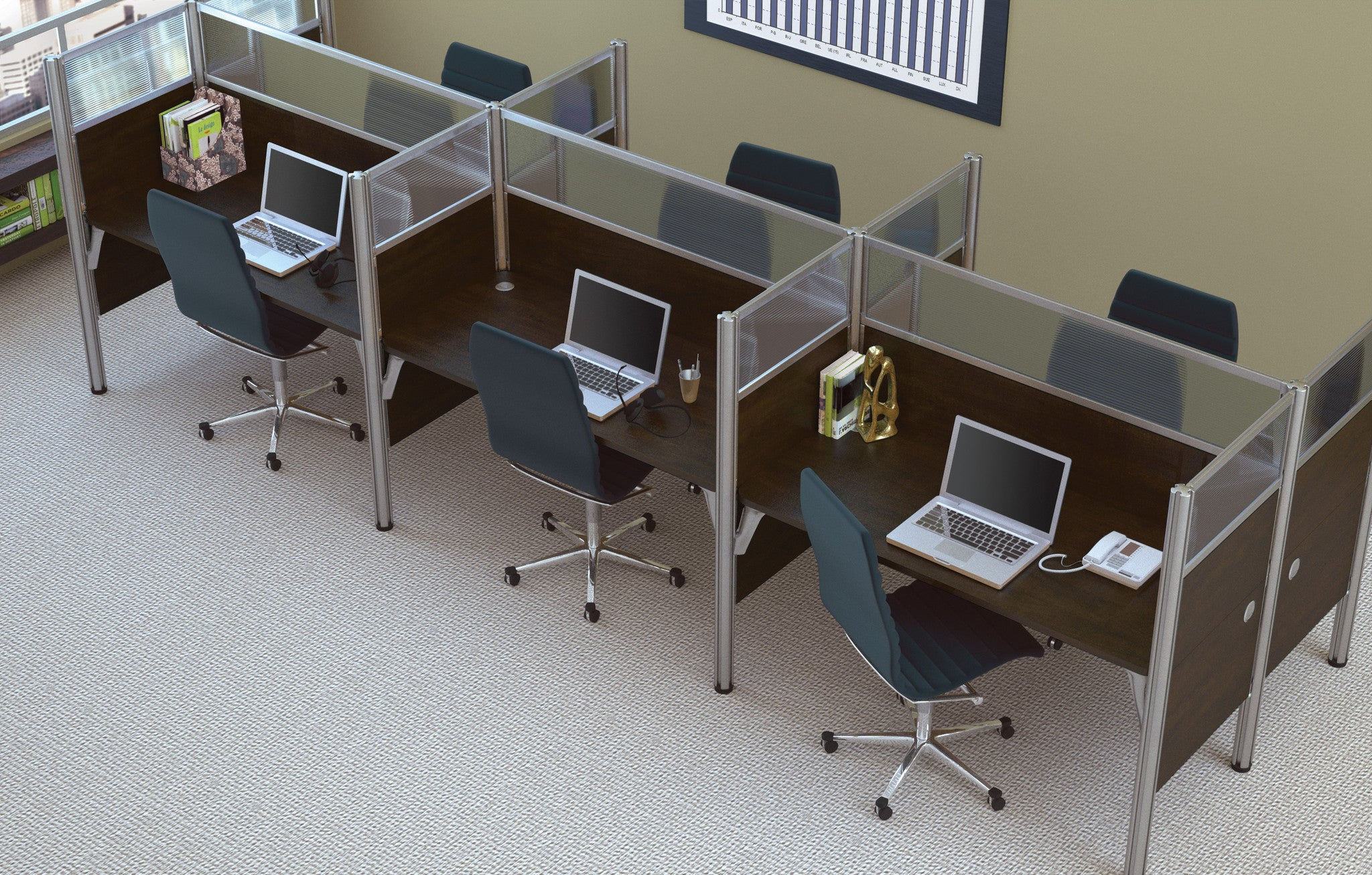 Pro-Biz Premium Six Desk Workstation with Privacy Panel in Chocolate
