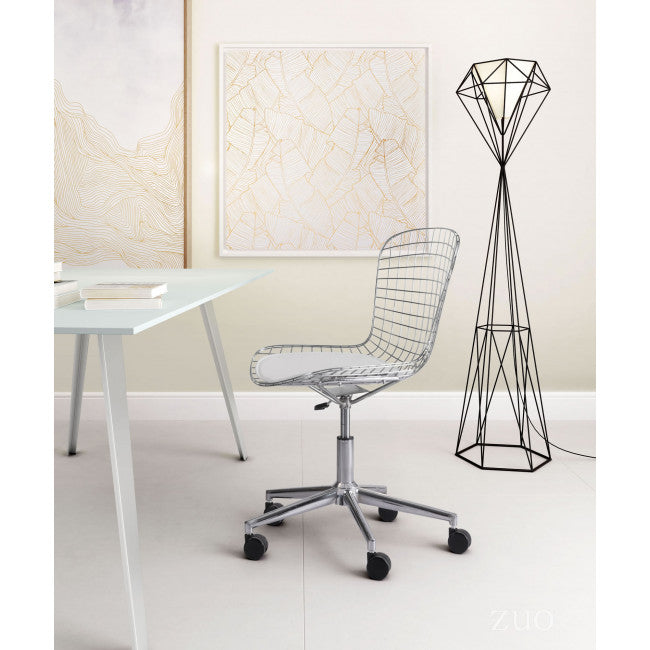 Stylish Office Chair w/ White Cushion and Chromed Steel