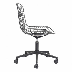 Stylish Office Chair w/ Black Cushion and Matte Black Steel
