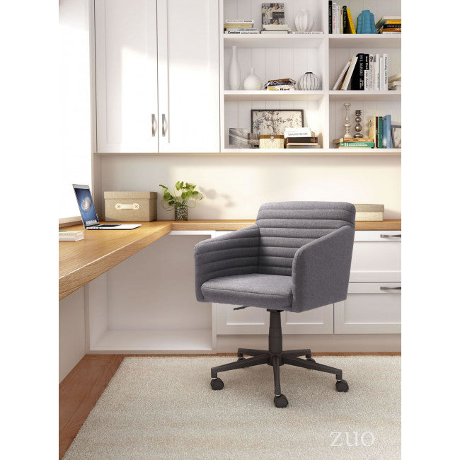 Classic Padded Office Chair in Dark Gray Linen