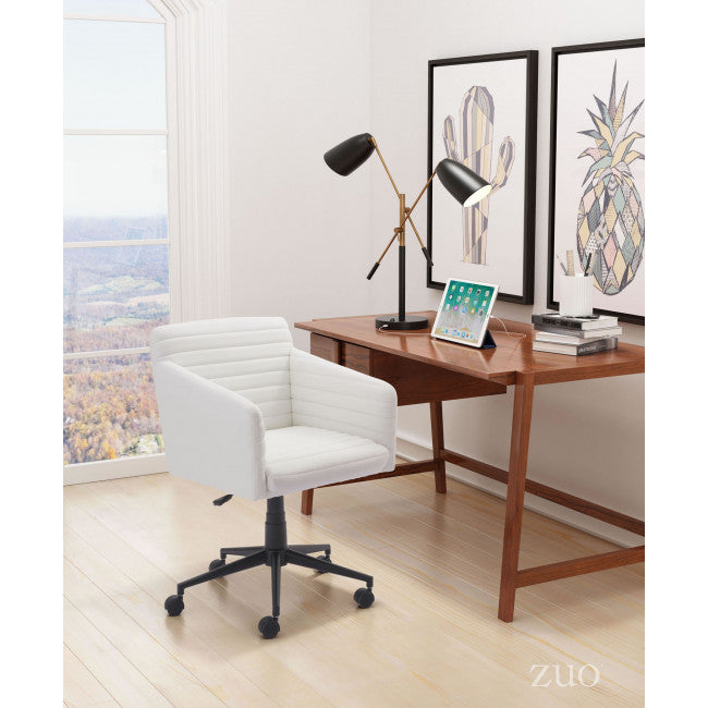Classic Padded Office Chair in White Leathette