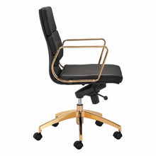 Load image into Gallery viewer, Striking Rolling Office Chair in Gold and Black Leatherette
