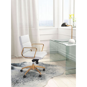 Striking Rolling Office Chair in Gold and White Leatherette