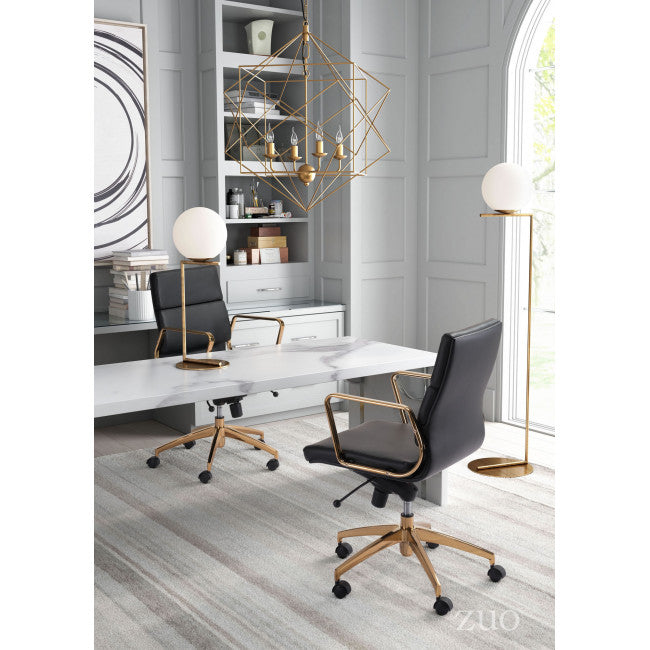 Striking Rolling Office Chair in Gold and Black Leatherette
