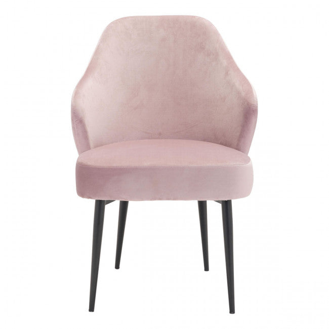 Gorgeous Guest or Conference Chair in Plush Seashell Pink Velvet