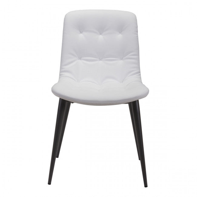 White Leatherette Guest or Conference Chair w/ Button Tufting (Set of 2)