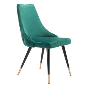 Chic Guest or Conference Chair in Green Velvet (Set of 2)