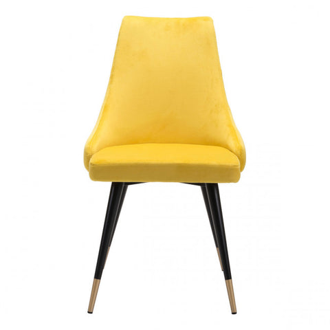 Chic Guest or Conference Chair in Yellow Velvet (Set of 2)