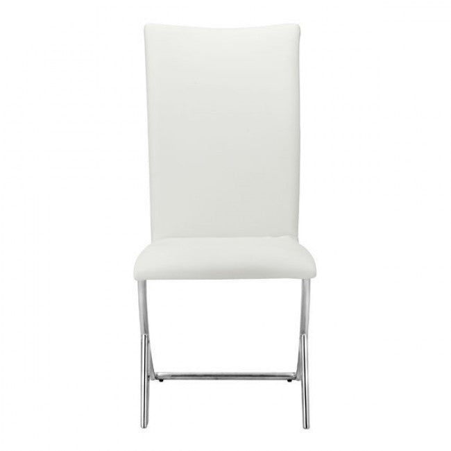 Unique Modern White Leatherette & Chrome Guest/Conference Chair (Set of 2)