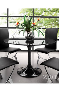 Black Lacquer Circular Meeting Table with Tulip-Shaped Base