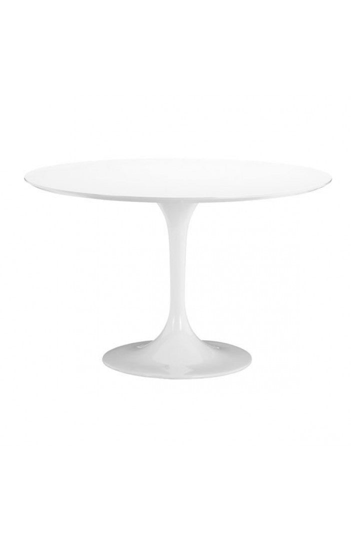 White Lacquer Circular Meeting Table with Tulip-Shaped Base