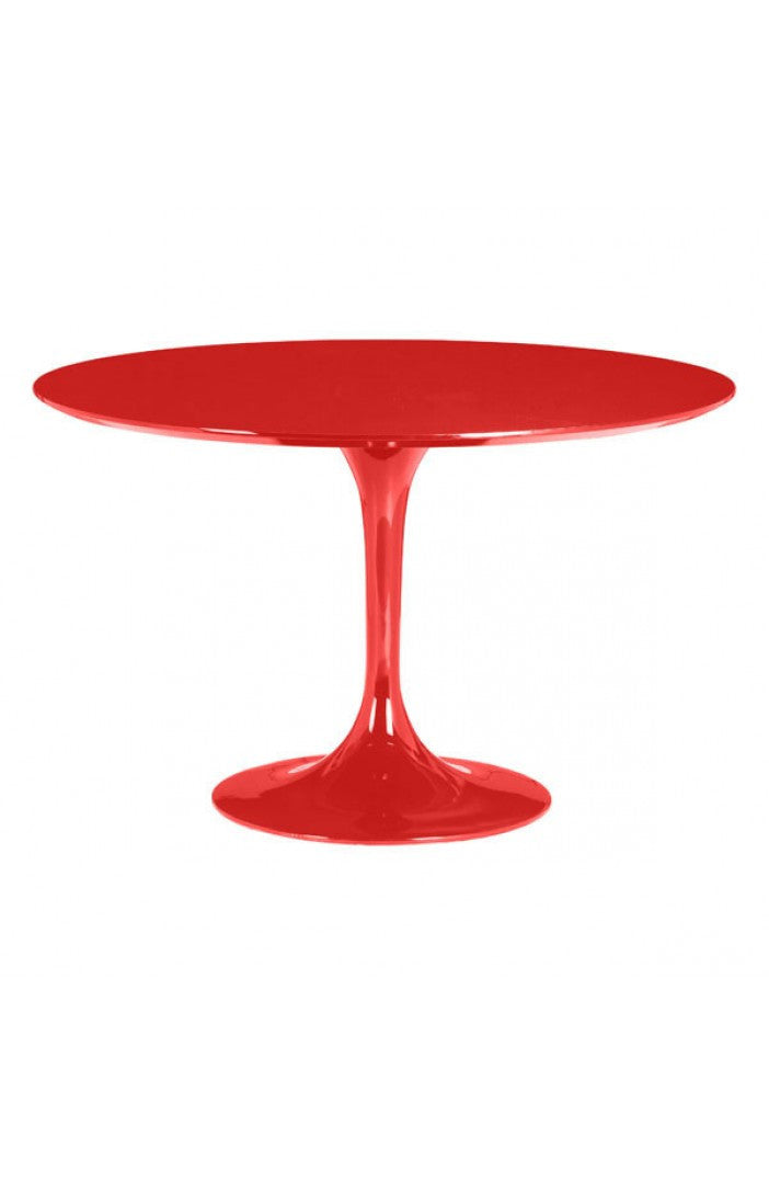 Red Lacquer Circular Meeting Table with Tulip-Shaped Base