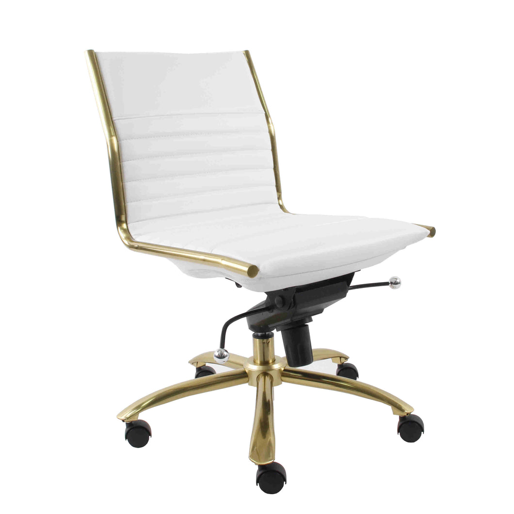 White Faux Leather & Brushed Gold Armless Office Chair